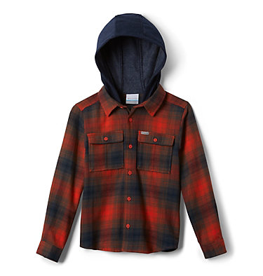 Kids' Boulder Ridge™ Flannel Hoodie Boulder Ridge™ Flannel Hoodie | 464 | L, State Orange Plaid, front
