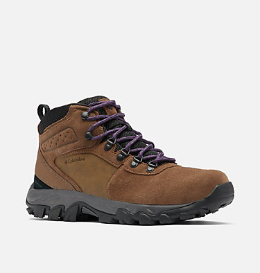 Men's Newton Ridge™ Plus II Suede Waterproof Hiking Boot NEWTON RIDGE™ PLUS II SUEDE WP | 202 | 10, Dark Brown, Cyber Purple, 3/4 front