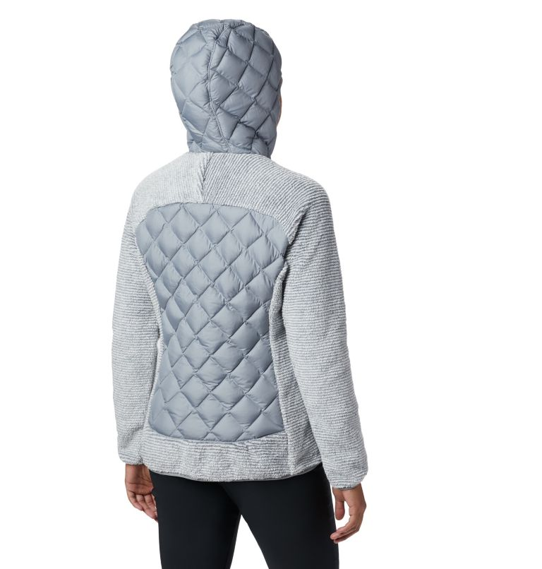 Techy Hybrid™ Fleece | 032 | XL Pile Techy Hybrid™ da donna, Tradewinds Grey, White Stripe, back