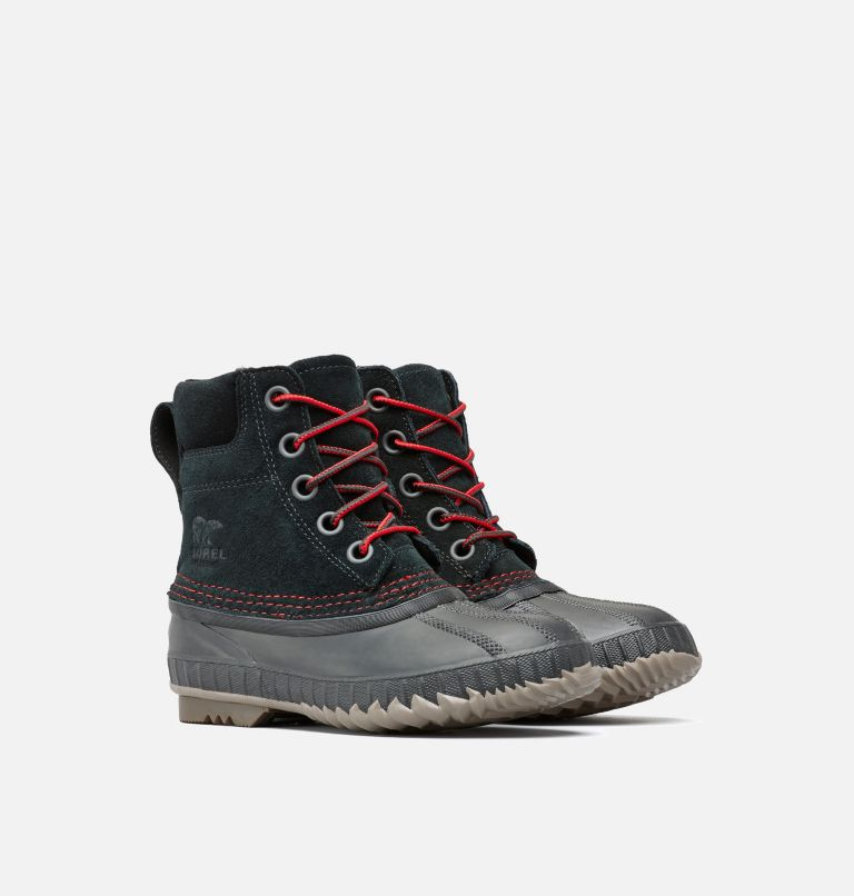 YOUTH CHEYANNE™ II LACE | 011 | 5 Boys Cheyanne II Duck Boot, Black, Mountain Red, 3/4 front