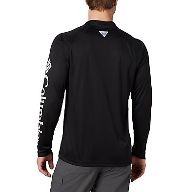 Men's PFG Terminal Tackle™ 1/4 Zip Pullover Terminal Tackle™ 1/4 Zip | 372 | L, Black, Cool Grey Logo, back