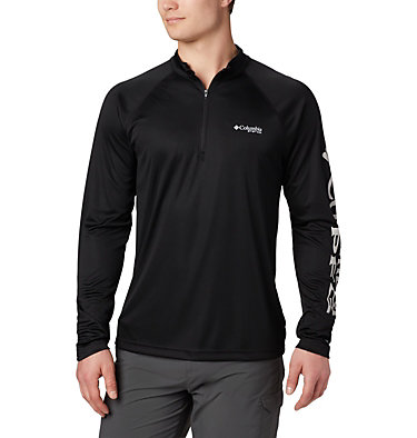 Men's PFG Terminal Tackle™ 1/4 Zip Pullover Terminal Tackle™ 1/4 Zip | 372 | L, Black, Cool Grey Logo, front