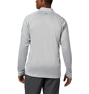 Men's PFG Terminal Tackle™ 1/4 Zip Pullover Terminal Tackle™ 1/4 Zip | 372 | L, Cool Grey, Vivid Blue Logo, back