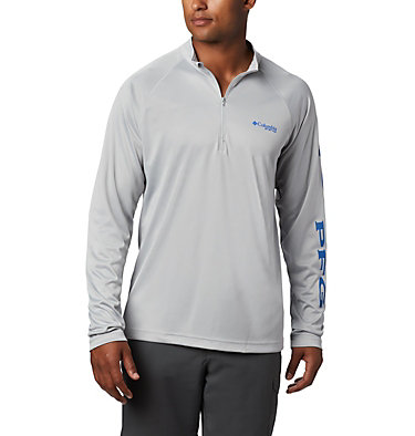 Men's PFG Terminal Tackle™ 1/4 Zip Pullover Terminal Tackle™ 1/4 Zip | 372 | L, Cool Grey, Vivid Blue Logo, front
