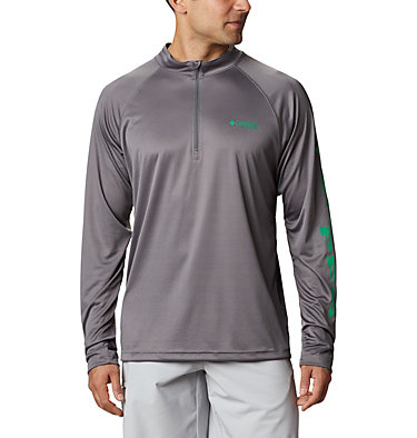 Men's PFG Terminal Tackle™ 1/4 Zip Pullover Terminal Tackle™ 1/4 Zip | 372 | L, City Grey, Dark Lime Logo, front