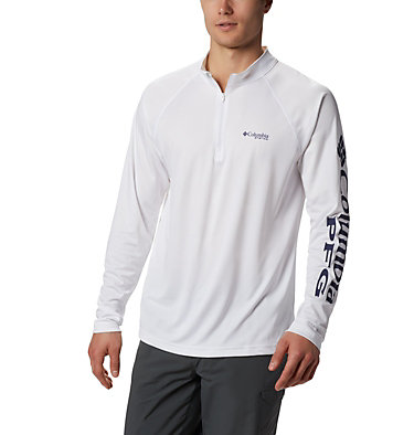 Men's PFG Terminal Tackle™ 1/4 Zip Pullover Terminal Tackle™ 1/4 Zip | 372 | L, White, Nightshade, front