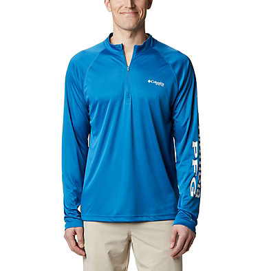 Men's PFG Terminal Tackle™ 1/4 Zip Pullover Terminal Tackle™ 1/4 Zip | 372 | L, Dark Pool, White Logo, front