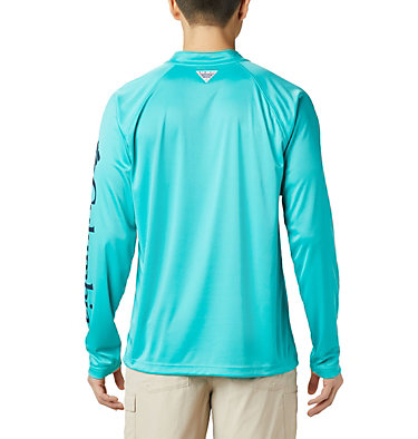 Men's PFG Terminal Tackle™ 1/4 Zip Pullover Terminal Tackle™ 1/4 Zip | 372 | L, Bright Aqua, Collegiate Navy Logo, back