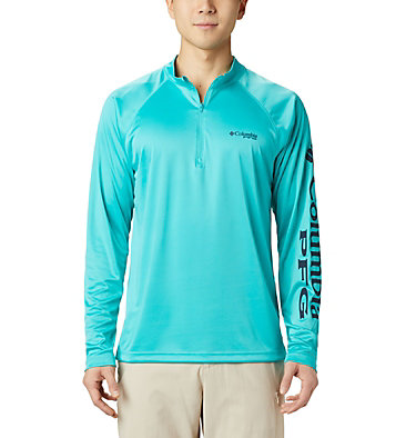 Men's PFG Terminal Tackle™ 1/4 Zip Pullover Terminal Tackle™ 1/4 Zip | 372 | L, Bright Aqua, Collegiate Navy Logo, front