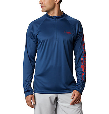 Men's PFG Terminal Tackle™ 1/4 Zip Pullover Terminal Tackle™ 1/4 Zip | 372 | L, Carbon, Red Spark Logo, front