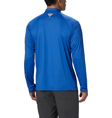 Men's PFG Terminal Tackle™ 1/4 Zip Pullover Terminal Tackle™ 1/4 Zip | 372 | L, Vivid Blue, Cool Grey Logo, back