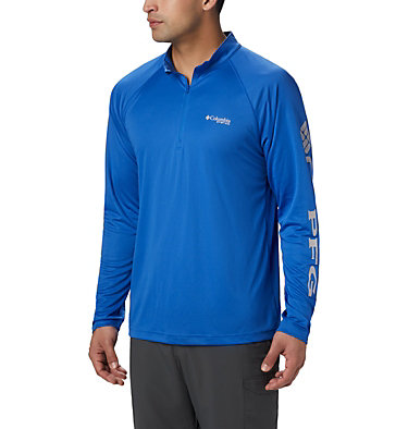 Men's PFG Terminal Tackle™ 1/4 Zip Pullover Terminal Tackle™ 1/4 Zip | 372 | L, Vivid Blue, Cool Grey Logo, front