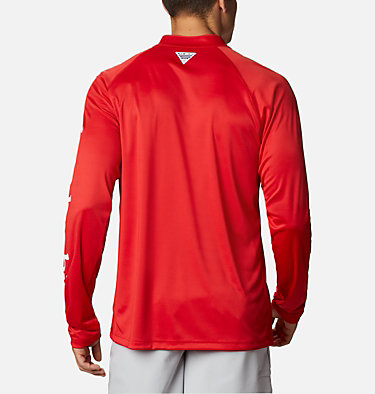 Men's PFG Terminal Tackle™ 1/4 Zip Pullover Terminal Tackle™ 1/4 Zip | 372 | L, Red Spark, White Logo, back