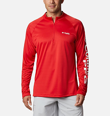 Men's PFG Terminal Tackle™ 1/4 Zip Pullover Terminal Tackle™ 1/4 Zip | 372 | L, Red Spark, White Logo, front