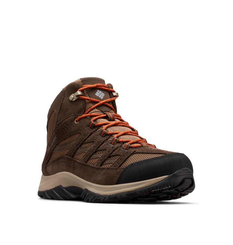 CRESTWOOD™ MID WATERPROOF WIDE | 203 | 7 Men's Crestwood™ Mid Waterproof Hiking Boot - Wide, Dark Brown, Dark Adobe, 3/4 front