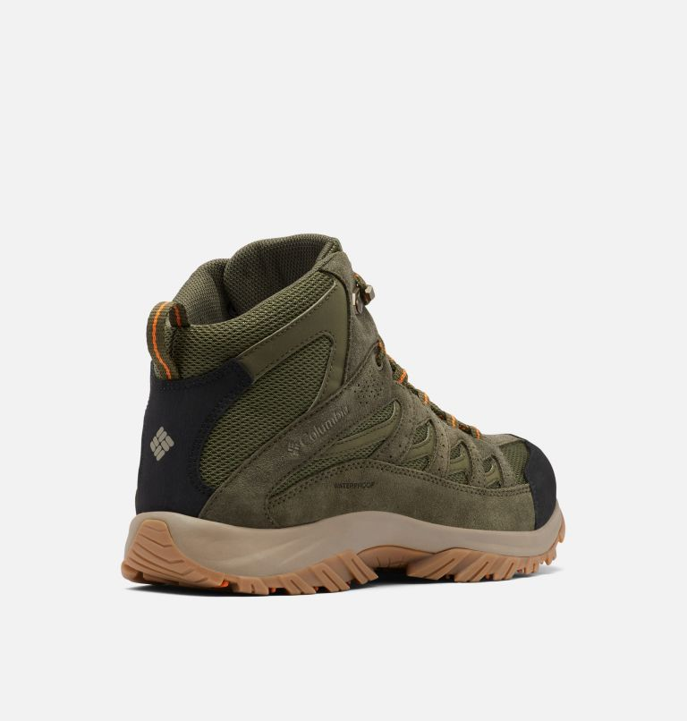 CRESTWOOD™ MID WATERPROOF WIDE | 371 | 7.5 Men's Crestwood™ Mid Waterproof Hiking Boot - Wide, Hiker Green, Light Orange, 3/4 back