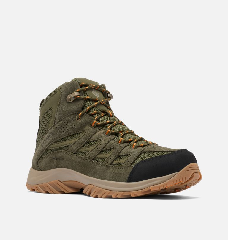 CRESTWOOD™ MID WATERPROOF WIDE | 371 | 7.5 Men's Crestwood™ Mid Waterproof Hiking Boot - Wide, Hiker Green, Light Orange, 3/4 front