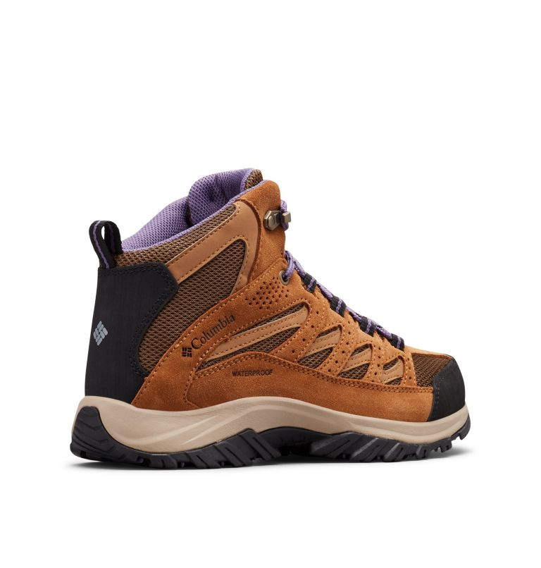 CRESTWOOD™ MID WATERPROOF | 206 | 11 Women's Crestwood™ Mid Waterproof Hiking Boot, Dark Truffle, Plum Purple, 3/4 back