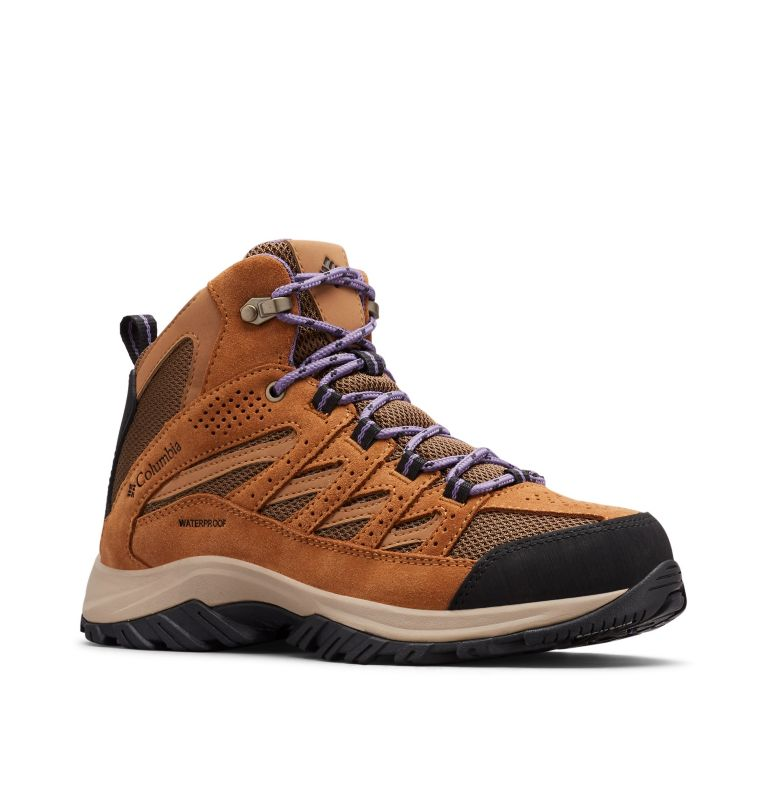 CRESTWOOD™ MID WATERPROOF | 206 | 8 Women's Crestwood™ Mid Waterproof Hiking Boot, Dark Truffle, Plum Purple, 3/4 front