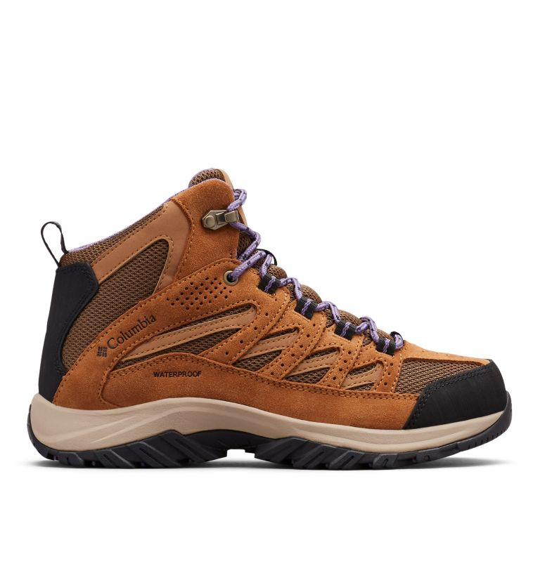 CRESTWOOD™ MID WATERPROOF   206   6 Women's Crestwood™ Mid Waterproof Hiking Boot, Dark Truffle, Plum Purple, front