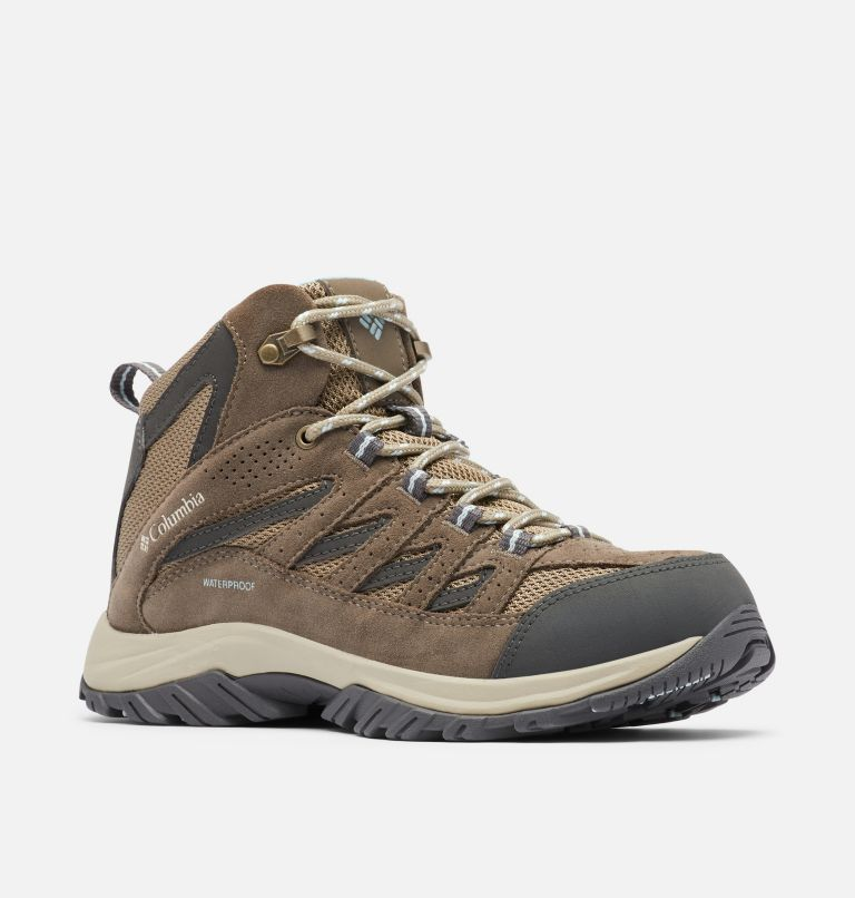 CRESTWOOD™ MID WATERPROOF | 227 | 10.5 Women's Crestwood™ Mid Waterproof Hiking Boot, Pebble, Oxygen, 3/4 front