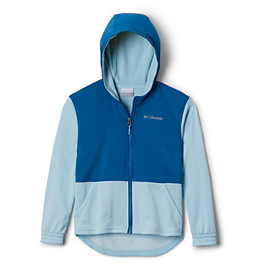 Girls' S'more Adventure™ Hybrid Hoodie S'more Adventure™ Hybrid Hoodie | 030 | L, Spring Blue Heather, Dark Pool, front