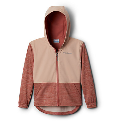 Girls' S'more Adventure™ Hybrid Hoodie S'more Adventure™ Hybrid Hoodie | 030 | L, Dark Coral Heather, Peach Cloud, front