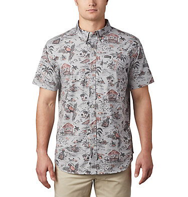 Men's Rapid Rivers™ Printed Short Sleeve Shirt Rapid Rivers™ Printed Short Sleeve Shirt | 161 | L, Columbia Grey Lost in Paradise Print, front