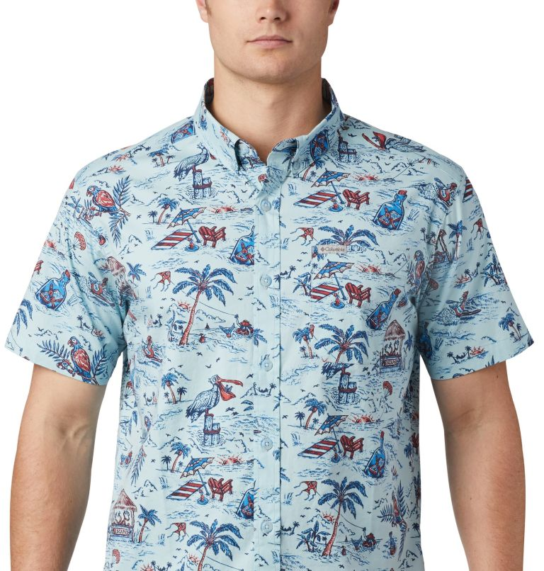 Rapid Rivers™ Printed Short Sleeve Shirt   428   L Men's Rapid Rivers™ Printed Short Sleeve Shirt, Sky Blue Lost in Paradise Print, a1