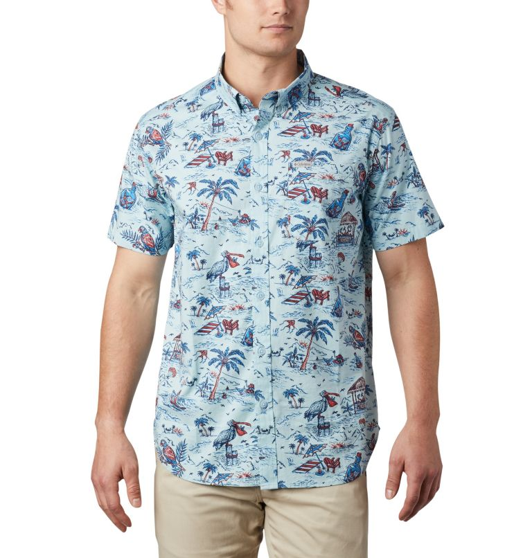 Rapid Rivers™ Printed Short Sleeve Shirt   428   L Men's Rapid Rivers™ Printed Short Sleeve Shirt, Sky Blue Lost in Paradise Print, front