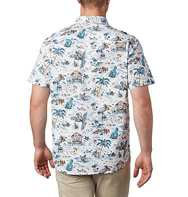 Men's Rapid Rivers™ Printed Short Sleeve Shirt – Big Rapid Rivers™ Printed Short Sleeve Shirt | 102 | 1X, White Lost in Paradise Print, back