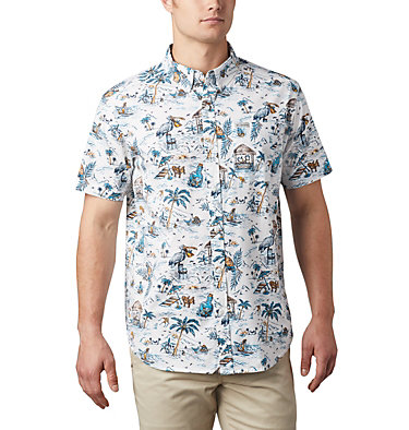 Men's Rapid Rivers™ Printed Short Sleeve Shirt – Big Rapid Rivers™ Printed Short Sleeve Shirt | 102 | 1X, White Lost in Paradise Print, front