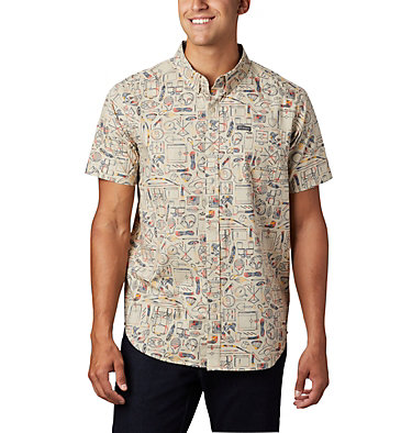 Men's Rapid Rivers™ Printed Short Sleeve Shirt – Tall Rapid Rivers™ Printed Short Sleeve Shirt | 102 | 2XT, Fossil Camp Supplies Print, front