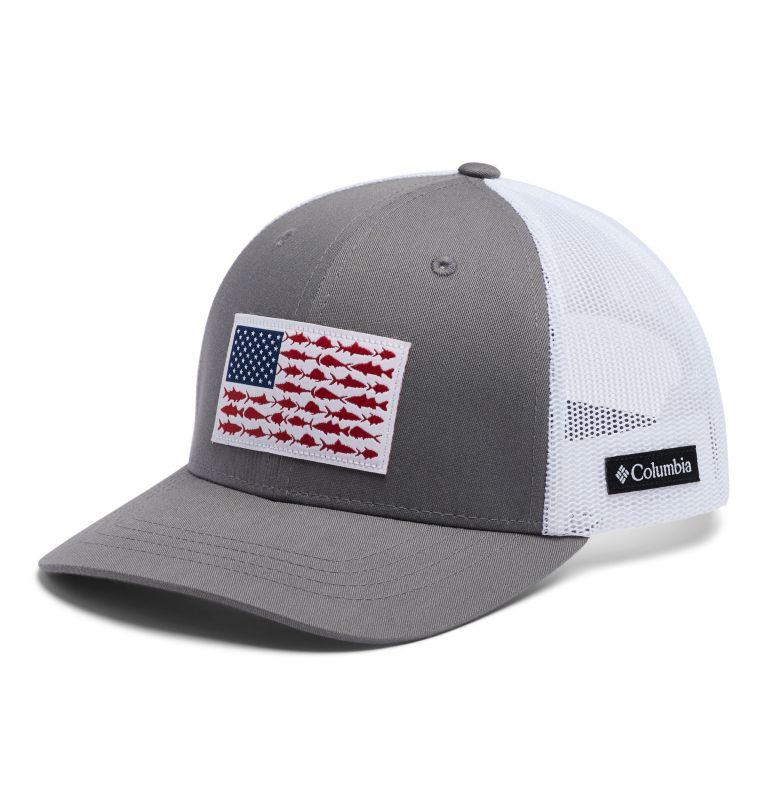 Columbia Youth™ Snap Back Hat | 029 | O/S Youth PFG Columbia™ Snap Back Cap, Titanium, Fish Flag, front