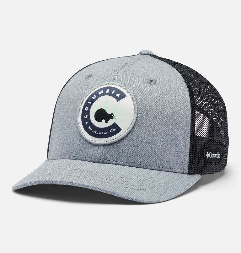 Columbia™ Youth Snap Back | 030 | O/S Youth Columbia™ Snap Back Cap, Charcoal Heather Circle Patch, front