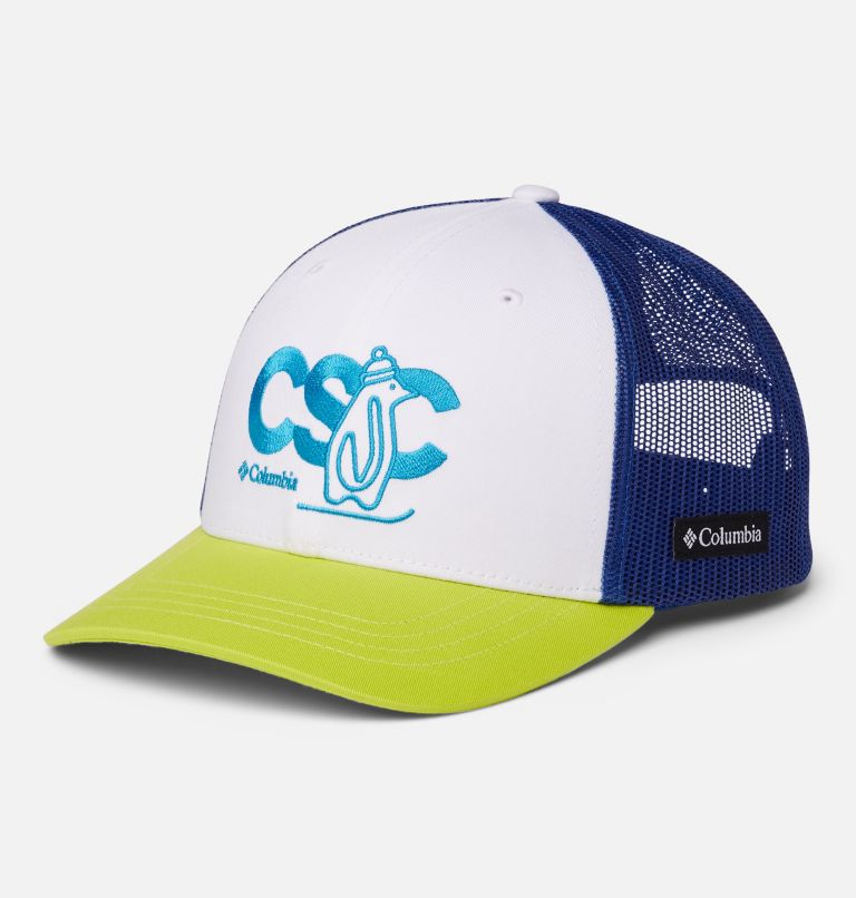 Columbia Youth™ Snap Back Hat | 101 | O/S Youth Columbia™ Snap Back Cap, White, Lapis Blue, CSC Patch, front