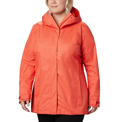 Women's Splash A Little™ II Jacket - Plus Size Splash A Little™ II Jacket | 843 | 1X, Bold Orange Titch Diamond Print, front