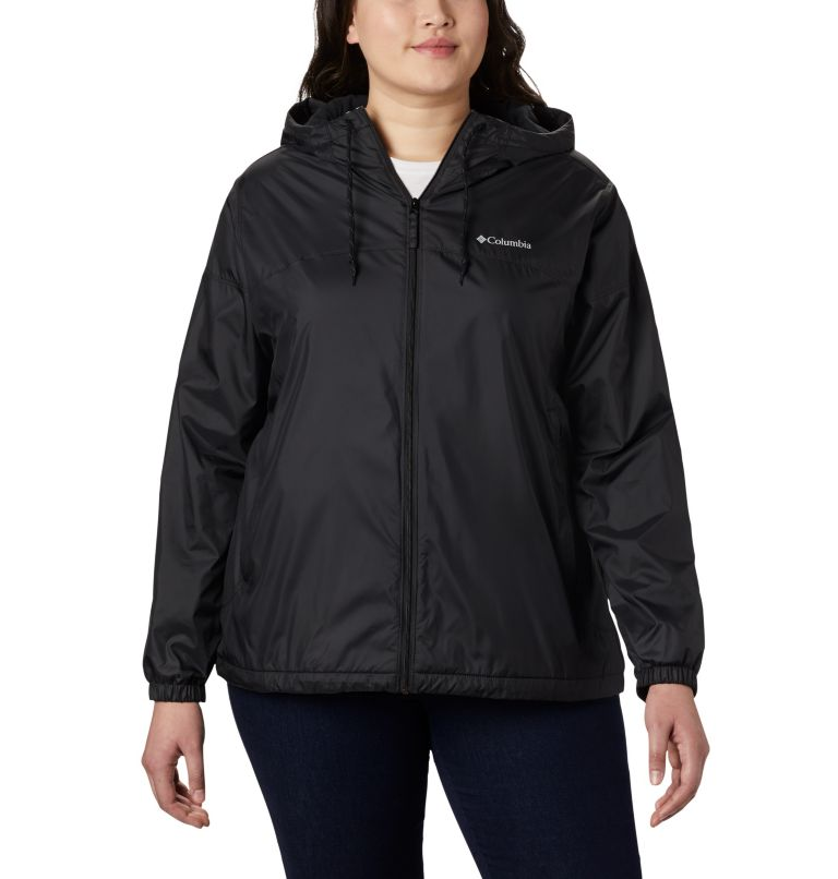 Flash Forward™ Lined Windbreaker | 010 | 3X Women's Flash Forward™ Lined Windbreaker - Plus Size, Black, front