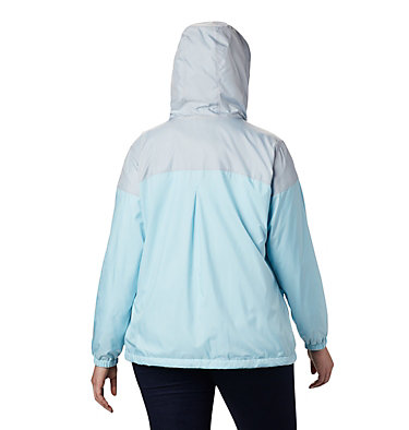 Women's Flash Forward™ Lined Windbreaker - Plus Size Flash Forward™ Lined Windbreaker | 581 | 2X, Spring Blue, Cirrus Grey, back