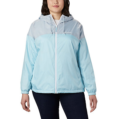 Women's Flash Forward™ Lined Windbreaker - Plus Size Flash Forward™ Lined Windbreaker | 581 | 2X, Spring Blue, Cirrus Grey, front