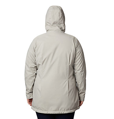 Women's Switchback™ Lined Long Jacket - Plus Size Switchback™ Lined Long Jacket | 671 | 2X, Flint Grey, Chalk Lining, back