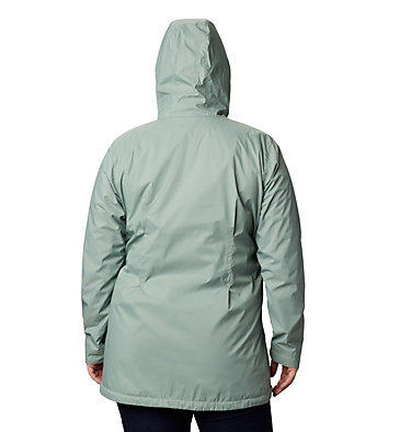 Women's Switchback™ Lined Long Jacket - Plus Size Switchback™ Lined Long Jacket | 671 | 2X, Light Lichen, Cool Green Lining, back