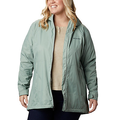 Women's Switchback™ Lined Long Jacket - Plus Size Switchback™ Lined Long Jacket | 671 | 2X, Light Lichen, Cool Green Lining, front