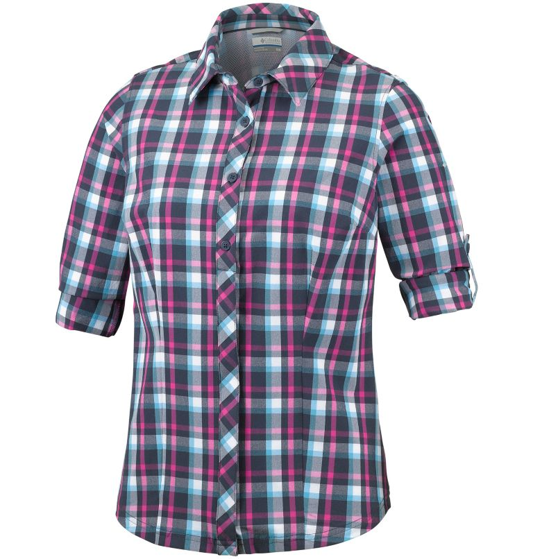 Saturday Trail™ Stretch Plaid  | 404 | XL Camisa elástica a cuadros de manga larga Saturday Trail™ para mujer, Atoll Plaid, a1