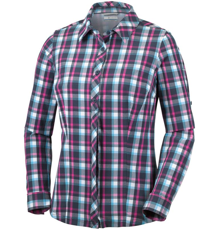 Saturday Trail™ Stretch Plaid  | 404 | XL Camisa elástica a cuadros de manga larga Saturday Trail™ para mujer, Atoll Plaid, front