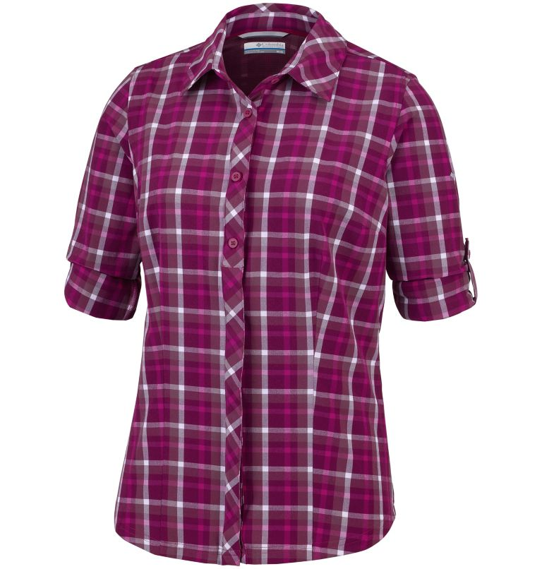 Camisa elástica a cuadros de manga larga Saturday Trail™ para mujer Camisa elástica a cuadros de manga larga Saturday Trail™ para mujer, a1