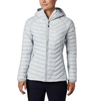 Powder Lite™ Hybrid-Kapuzenjacke für Damen Powder Pass™ Hooded Jacket | 010 | XS, Cirrus Grey Ferny Ferns Print, front