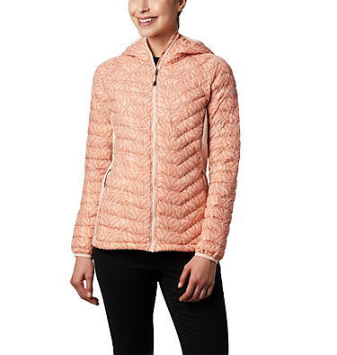 Women's Powder Lite™ Hybrid Hooded Jacket Powder Pass™ Hooded Jacket | 010 | XS, Peach Cloud Ferny Ferns Print, front