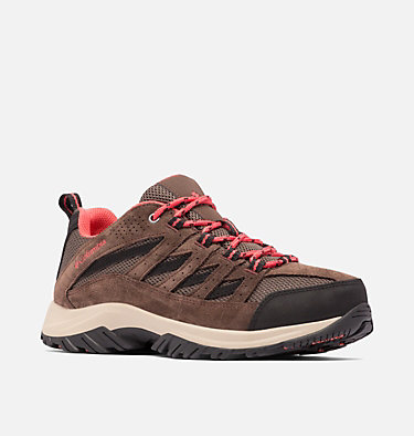 Women's Crestwood™ Hiking Shoe - Wide CRESTWOOD™ WIDE | 053 | 6.5, Mud, Red Coral, 3/4 front