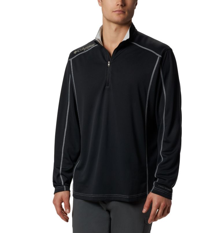 Low Drag™ 1/4 Zip | 010 | XL Men's PFG Low Drag™ 1/4 Zip Top, Black, front